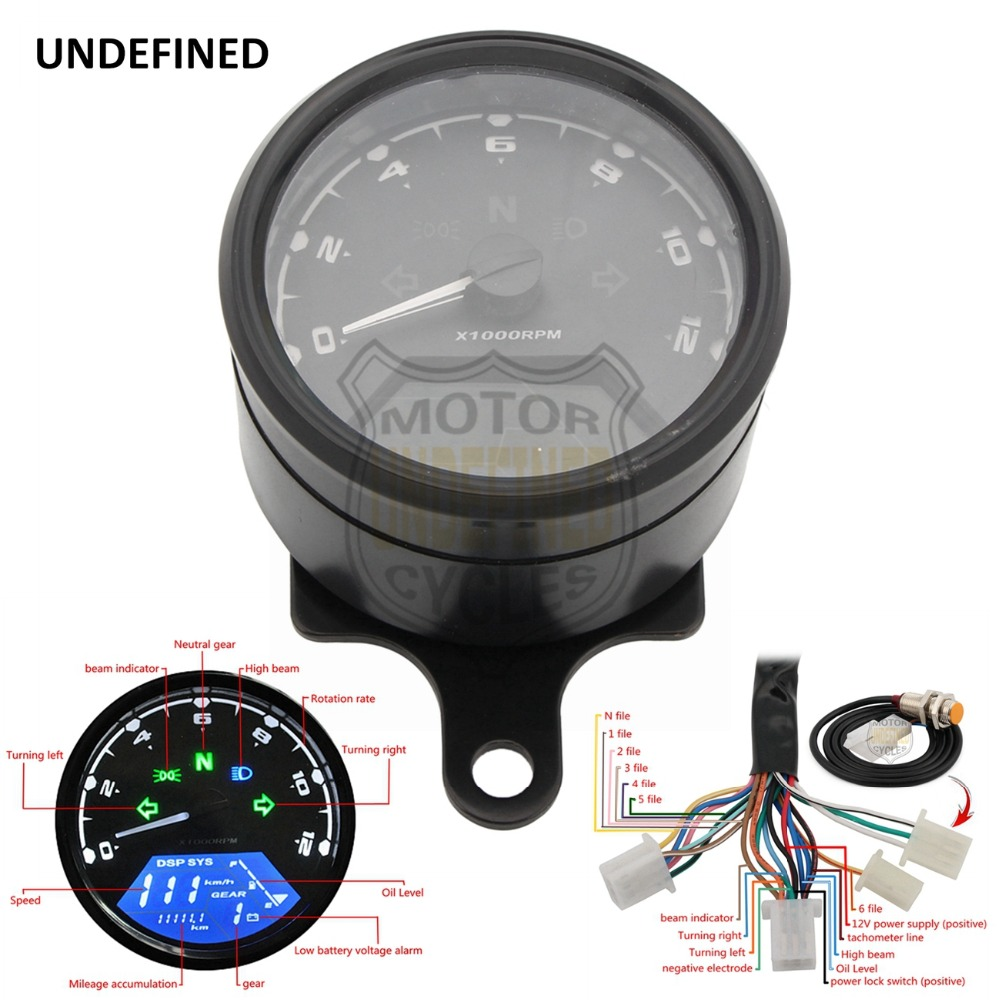 UNDEFINED Universal New Digital Speedometer Odometer Backlight Speed Meter With LED Indicator DC 12V for Most Motorcycle DDD51 dc 12v motorcycle speedometer odometer gauge atv scooter backlit dual speed meter with led indicator 0 160km h xq 001