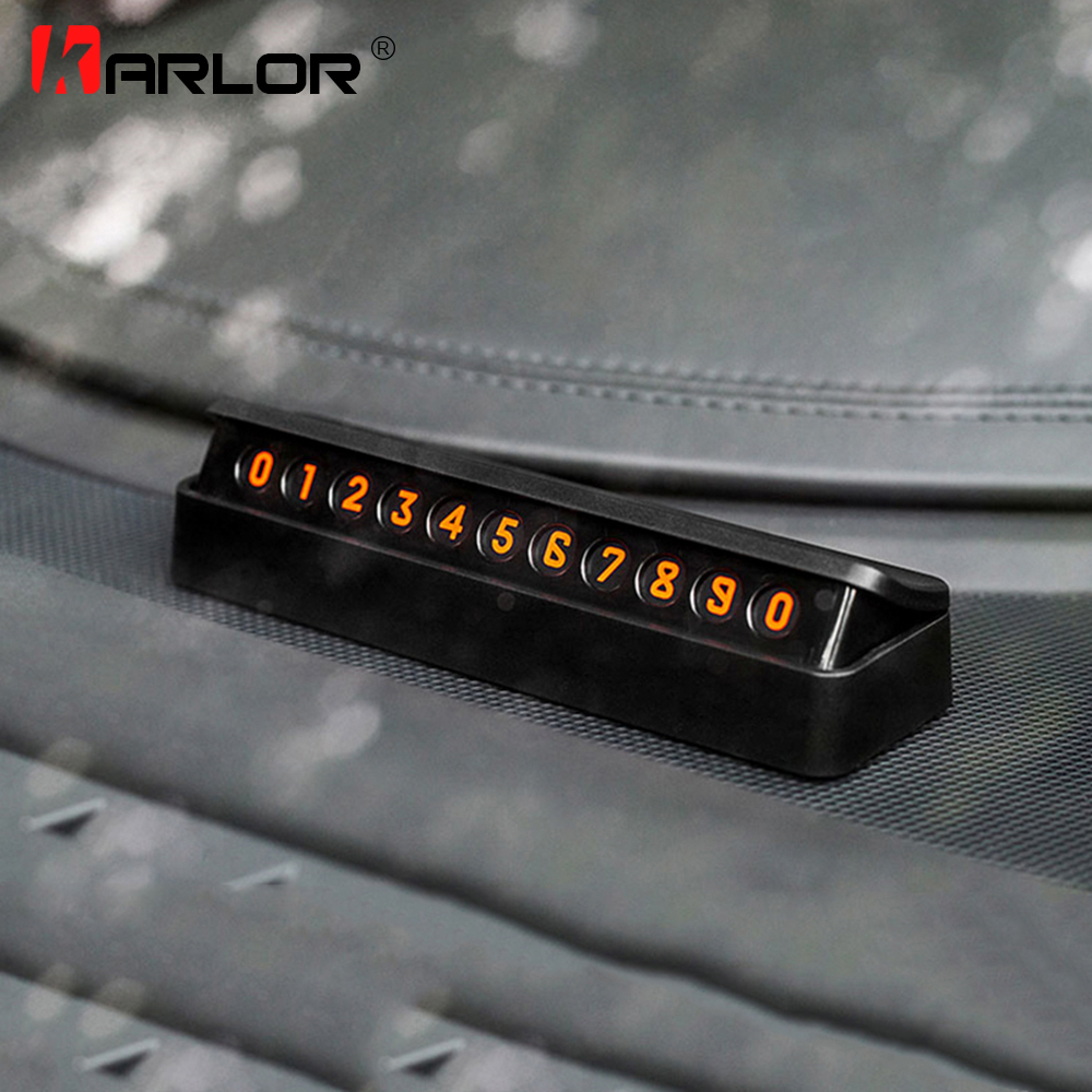 Universal Car Parking Card Stop Sign Telephone Number Card Plate Drawer Style Hidden Magnetic Temporary Car Styling Accessories