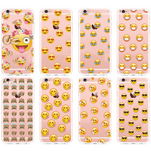 New Design Funny Monkey Emoji Phone Case For iPhone 6 6s 6Plus 6s Plus 7 7Plus Transparent Silicon Soft Back Cover Fundas Capa