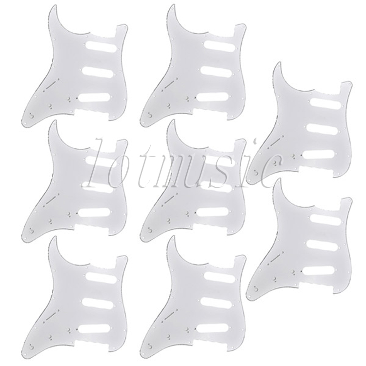 8Pcs Standard Pickguard 3Ply Left Handed Guitar Parts For Electric Strat ST Replacement 3 ply electric guitar pvc pickguard for fender strat st musical stringed instruments guitar parts
