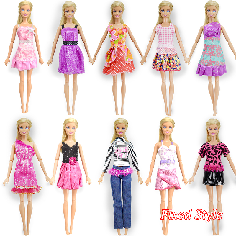 Fixed style 10 Pcs Mix Barbie Doll Dress + 10 Pair Shoes Beautiful Fashion Party Outfit Clothes For Barbie Dolls Girl's Gift Toy new 20 pcs set handmade party 12 clothes fashion mixed style dress 8 pair accessories shoes for barbie doll best gift girl toy