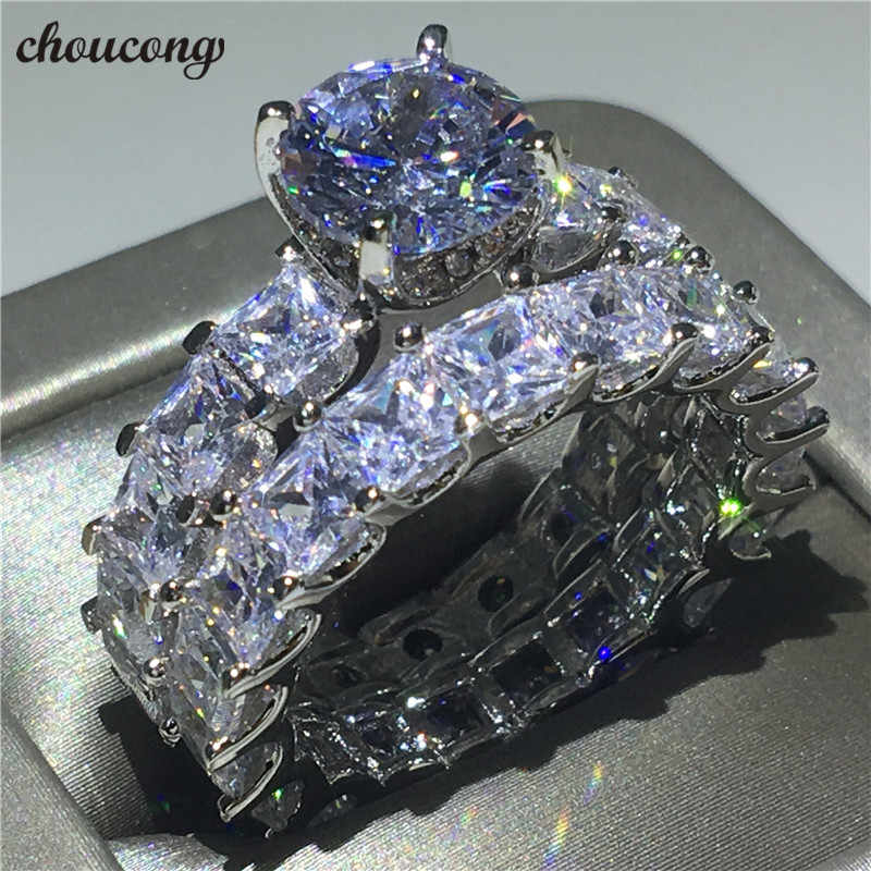 Choucong Vintage Promise ring set Prinses cut AAAAA Zirkoon Cz 925 Sterling zilver Engagement Wedding Band Ringen voor vrouwen mannen