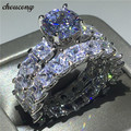 Choucong Винтажное кольцо с обещанием, набор, принцесса, режущий фианит AAAAA, серебро 925 пробы, обручальное кольцо, кольца для мужчин и женщин