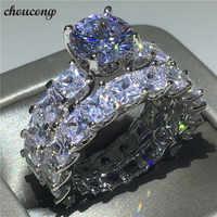 Choucong Vintage Promise ring set princesa cut AAAAA Zircon Cz 925 Anillos de Compromiso de plata de ley para mujeres y hombres