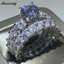 Choucong Vintage promesa anillo de corte princesa AAAAA Zircon Cz de la plata esterlina 925 compromiso boda banda anillos para las mujeres de los hombres