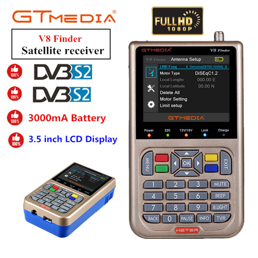 Freesat V8 Finder HD DVB-S2 1080P Digital Satellite Finder High Definition Sat Finder DVB S2 Satellite Meter Satfinder GTMEDIA V