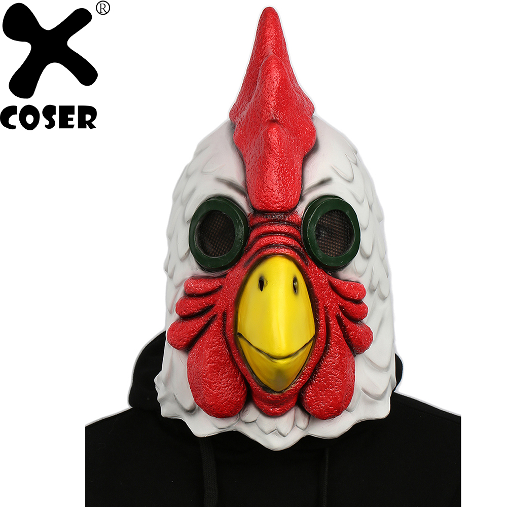 XCOSER Hot Sale Game Hotline Miami Cock Mask Latex Full Head Cosplay Mask for Halloween Party Carnival Cos Show Events