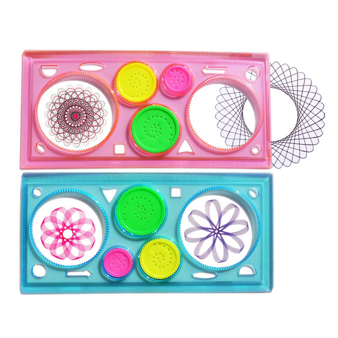 School & Educational Supplies Fangnymph Creative Candy Color Transparent Spirograph Geometric Ruler Multi-function Puzzle Flowers Ruler Student Drawing Ruler Math Sets
