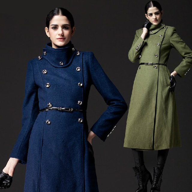 Women's Double Breasted Wool coat , Female Long Army Green Navy ...