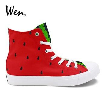 Вэнь оригинальный дизайн фрукты серии арбуз ручная роспись высокая обувь на заказ холст женские кроссовки живопись обувь на платформе для