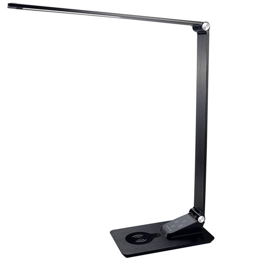 デスクランプとワイヤレス充電器、 USB 充電、 5 輝度 3 色、調節可能なテーブルのため、寝室や寮、黒、 7 ワット  グループ上の ライト & 照明 からの デスクランプ の中 1