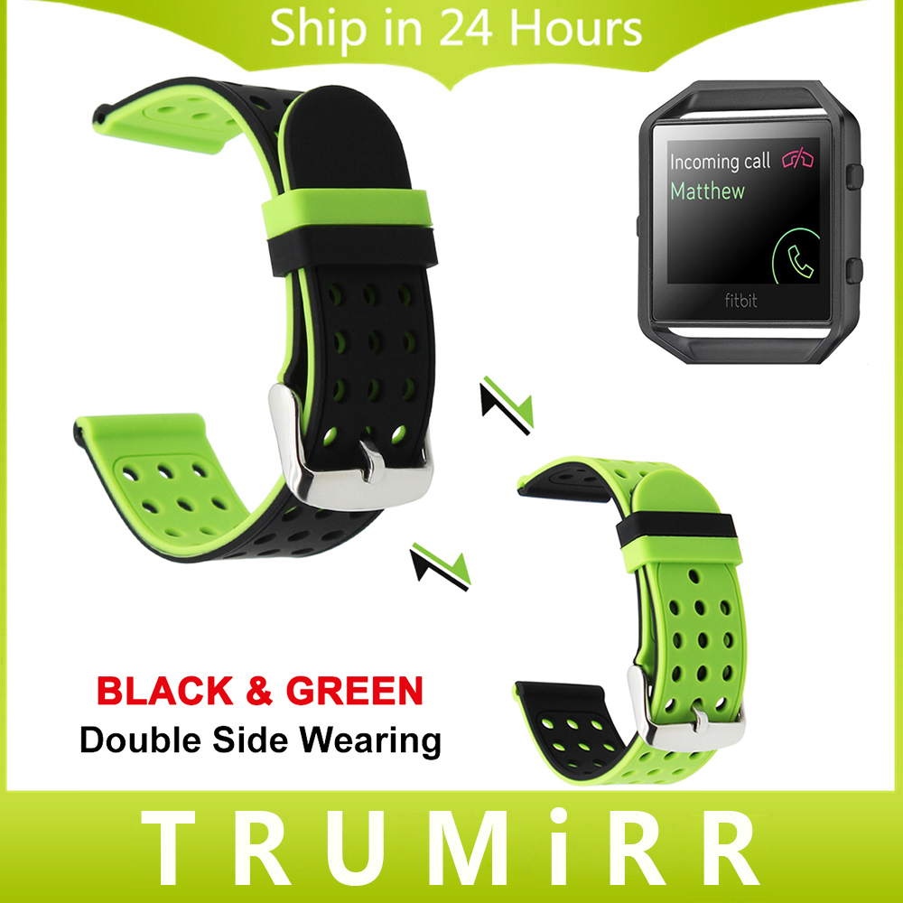 Silicone Rubber Watchband Double Side Wearing for Fitbit Blaze Smart Fitness Watch Strap Wrist Bracelet Black Green Red Blue uyoung watchband for casio prg 130y prw 1500yj watch bands black silicone rubber strap climbing bracelet