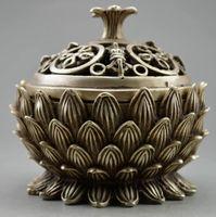 10.7 cm */ China decorative old Tibet silver hand carved lotus incense burner