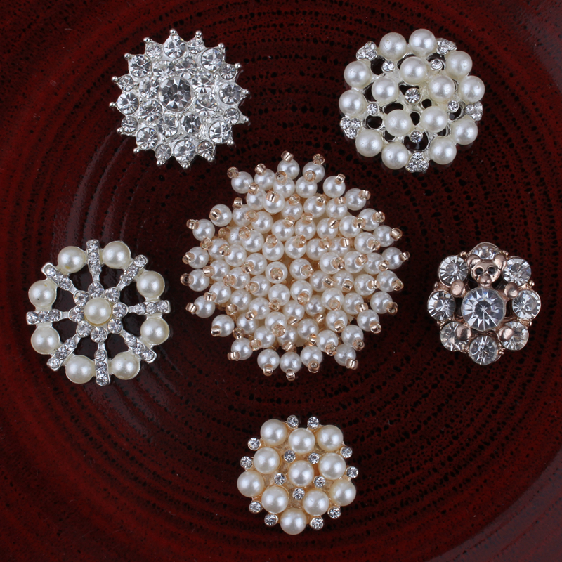120pcs lot 2017 Metal Flatback Flower Pearl Crystal Buttons for Crafts Clear Alloy Rhonestone Buttons for