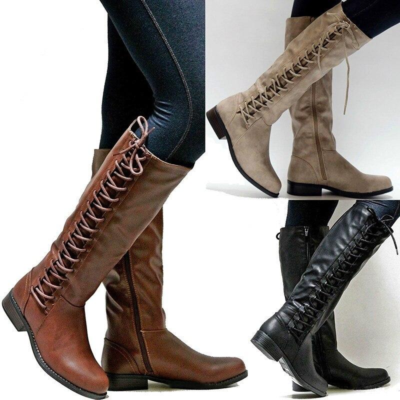 Dames black Carré Neige En Automne Cuir Femmes Bottes À Plat Lacets Beige Moto Chaud De Hiver Quanzixuan brown Chaussures EqBY7Txw