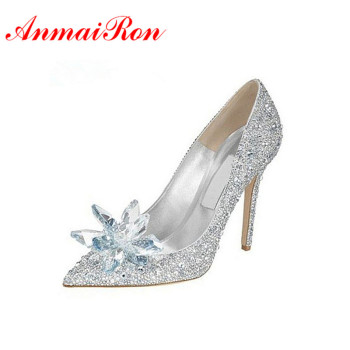 ANMAIRON Adults Movie Lace High Heels Women Wedding Shoes Thin Heels Rhinestone Platform Butterfly Cinderella Crystal Shoes