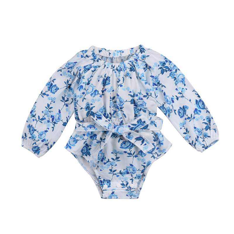 New Casual Lovely Newborn Infant Baby Girls Clothing Floral Romper Long Sleeve Jumpsuit Outfits Clothes 0-24M