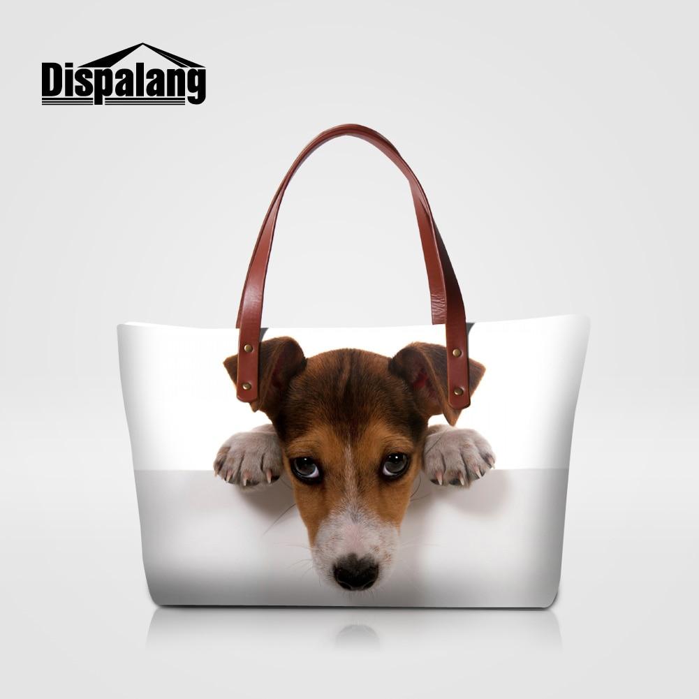 Dispalang bonito Jack Russel cão impressão bolsas das mulheres marca designer animal prints pug meninas totes sacos senhoras top-handle bag