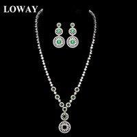 LOWAY 4 Pendientes Del Collar de Las Mujeres de la Calabaza de Color Decoración De La Boda india Joyería Nupcial Conjuntos de Joyas Al Por Mayor XL1925