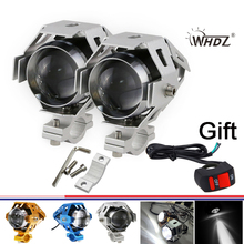 2 x 125W U5 Motorcycle LED Driving Fog Head Spot Light with high beam low beam flash beam Headlight +1pc switch kit