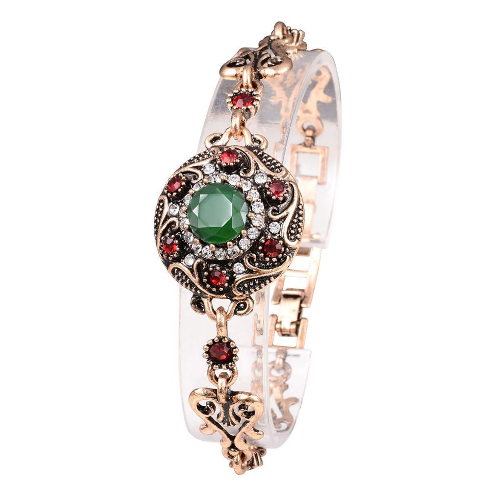 Boho Vintage Retro Turkish Jewelry Top Resin Gold Red Green Charm Bracelet Female Bracelets Bangles for Women Jewellery Braclet