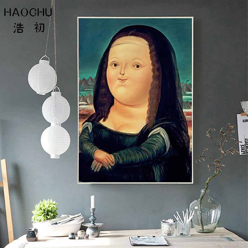 HAOCHU Cartoon Mask Lovely Fat Girl Mona Lisa Smile Nursery Wall Decoration Canvas Painting Art Poster Print Picture Home decor
