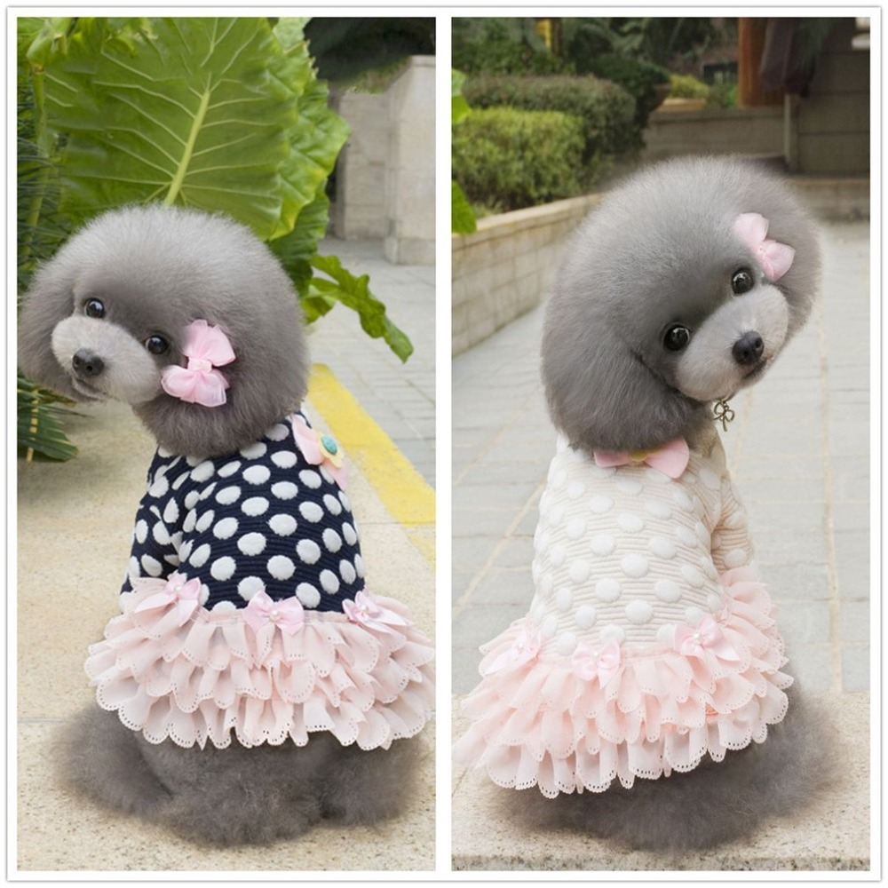 Dog Baby Pet Dog Clothes Pet Princess Dress Teddy Thick Version Of The Small Skull Skirt Autumn And Winter blue and pink S-XXL