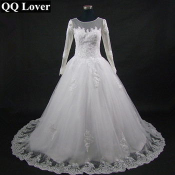 QQ Lover 2020 New Arrival Nude Illusion Long Sleeve Lace Wedding Dress Custom-made Plus Size  Bride Gown