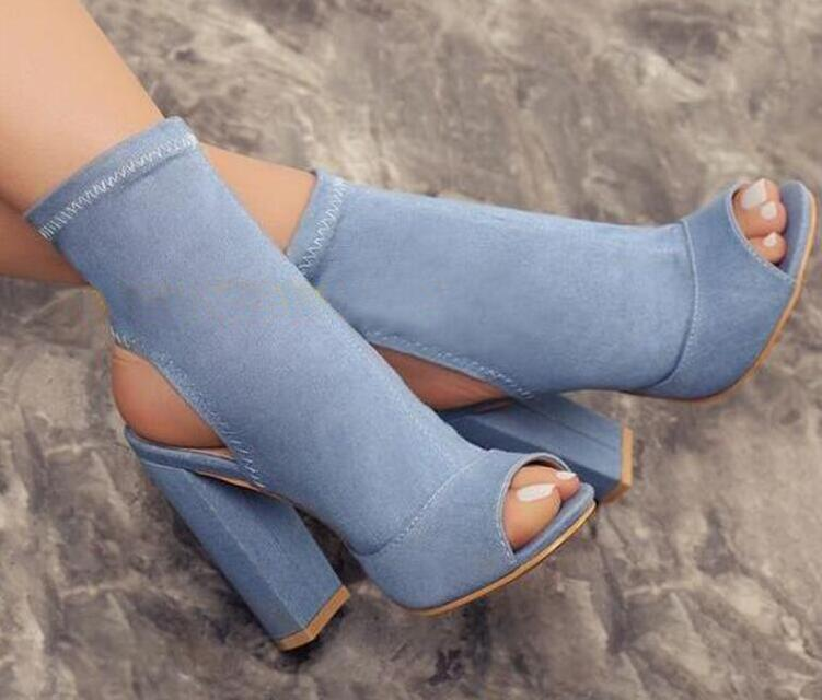 Hot Selling Women Fashion Open Toe Blue Denim Thick Heel Ankle Boots Slip on Bandage Super