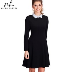 Nice-forever Vintage Classic Turn-down Neck Elegant Ladylike Charming Solid Full Length Sleeve Ball Gown Formal Woman Dress A016