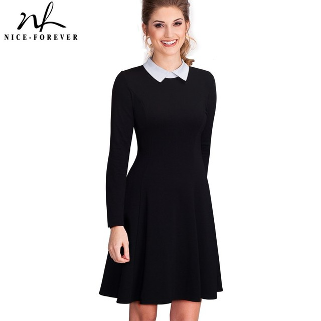 Nice forever Vintage Classic Turn down Neck Elegant Ladylike Charming Solid Full Length Sleeve Ball Gown Formal Woman Dress A016