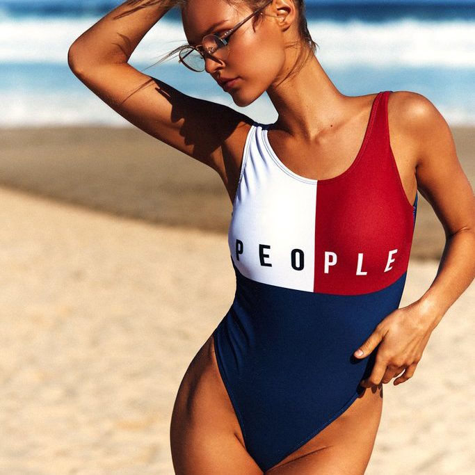 2017 Summer styles Women One Pieces swimsuit vest push up swimwear bathing suit jumpsuit bikinis beach contrast color beach
