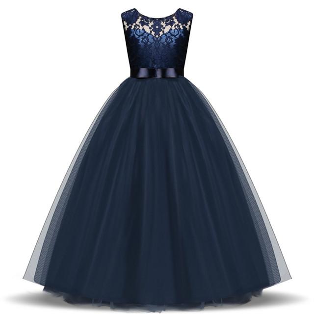 Long Princess Lace Flower Girl Dress