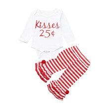 Одежда для новорожденных для мальчиков и девочек с надписью: комбинезон топы штаны в полоску, комплект наряды с валентинкой Милая белая одежда из хлопка для маленьких девочек, для младенцев, одежда для малышей