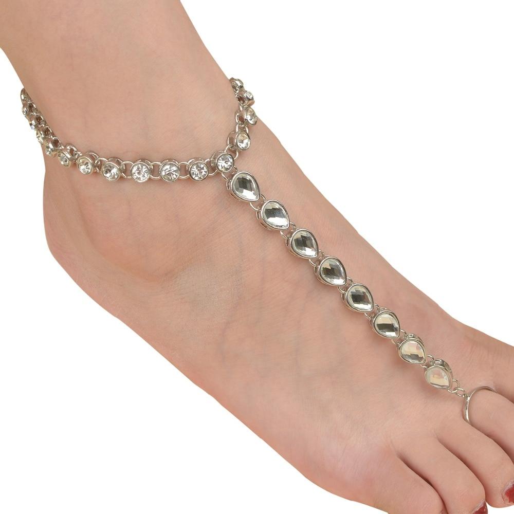 Strandkristall-armband för kvinnor Rhinestone Barefoot Sandaler Toe - Märkessmycken - Foto 4