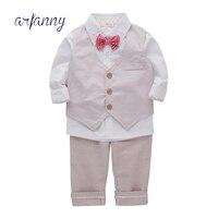 ARFANNY Birthday Boys gentleman waistcoat 3 piece suits Children Autumn outfit boy suit baby set 0 1 2 4year Kids Cotton clothes