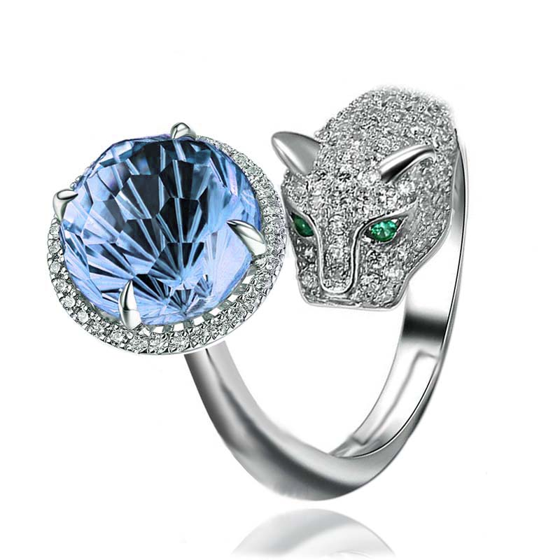 10ct Natural Topaz Ring 925 Sterling silver Panther Leopard Fine Elegant Crystal Women s Jewelry Firework