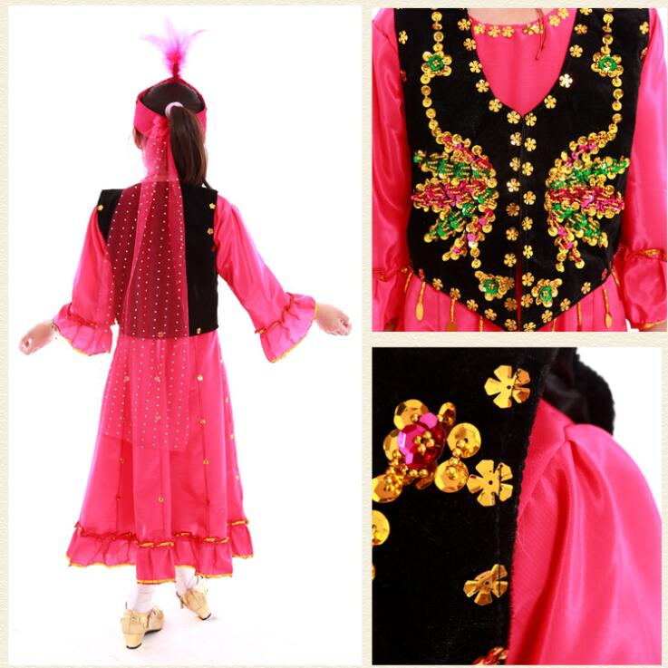 Girls dance costume children's performance clothing hand embroidered sequins costumes dress-in Chinese Folk Dance from Novelty & Special Use    1