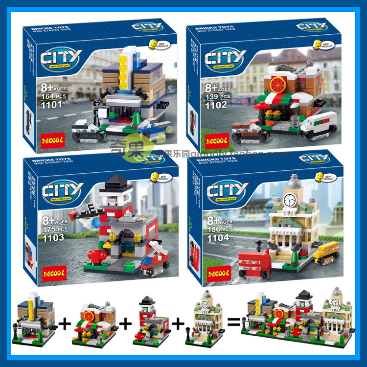 building block set compatible with lego City 4 in 1 mini Street View 3D Construction Brick Educational Hobbies Toys for Kids