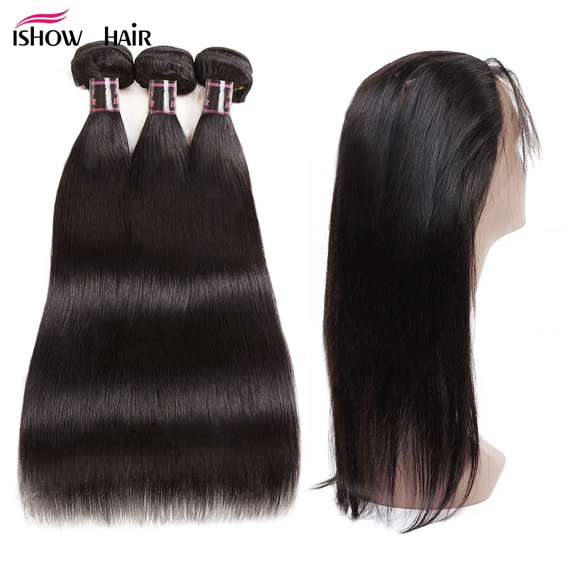 Ishow Malaysian Straight Hair With Closure Pre Plucked 360 Lace Frontal With Bundles Non Remy Human