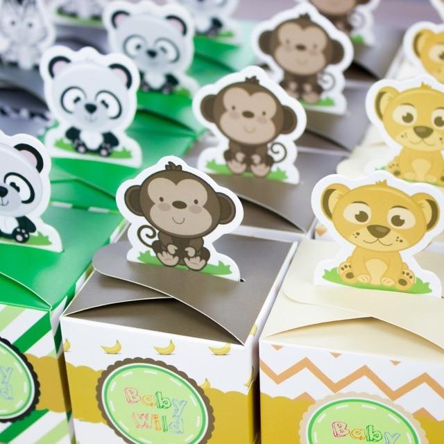 12PCS Baby Shower Favors Safari Animal Wild Favor Box Candy Box Souvenir Boy/Girl Kids Event & Party Supplies