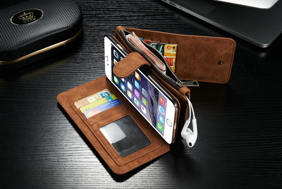 new product c02dc 7a54d US $24.99 |For Apple IPhone 7 6 6S/ Plus Multi functional 14 Cards Holder  Wallet Vintage Genuine Leather Zipper Phone Case Back Cover-in Wallet Cases  ...