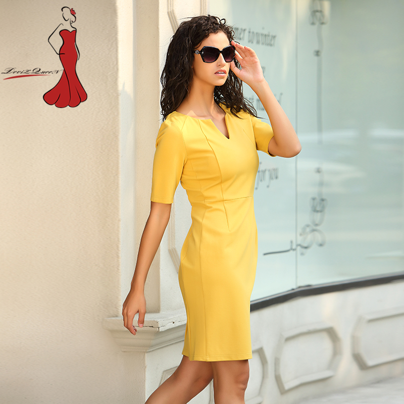 Aliexpress Deviz Queen Elegant Office Dresses Brand 2017 New V Neck Design Women S Casual Simple Yellow Bodycon Slim Dress Wear To Work From