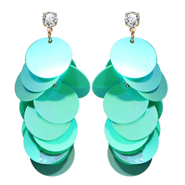 17KM Bohemia Round Sequin Multilayer Long Dangle Earrings For Women Statement Cr