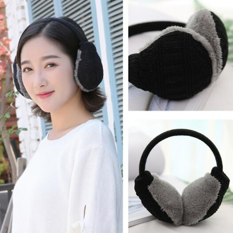 1pc New Style Winter Earmuffs For Men Women Fashion Unisex Solid Candy Color Comfort Knitted Warm Plush Ear Muffs Cover Cute