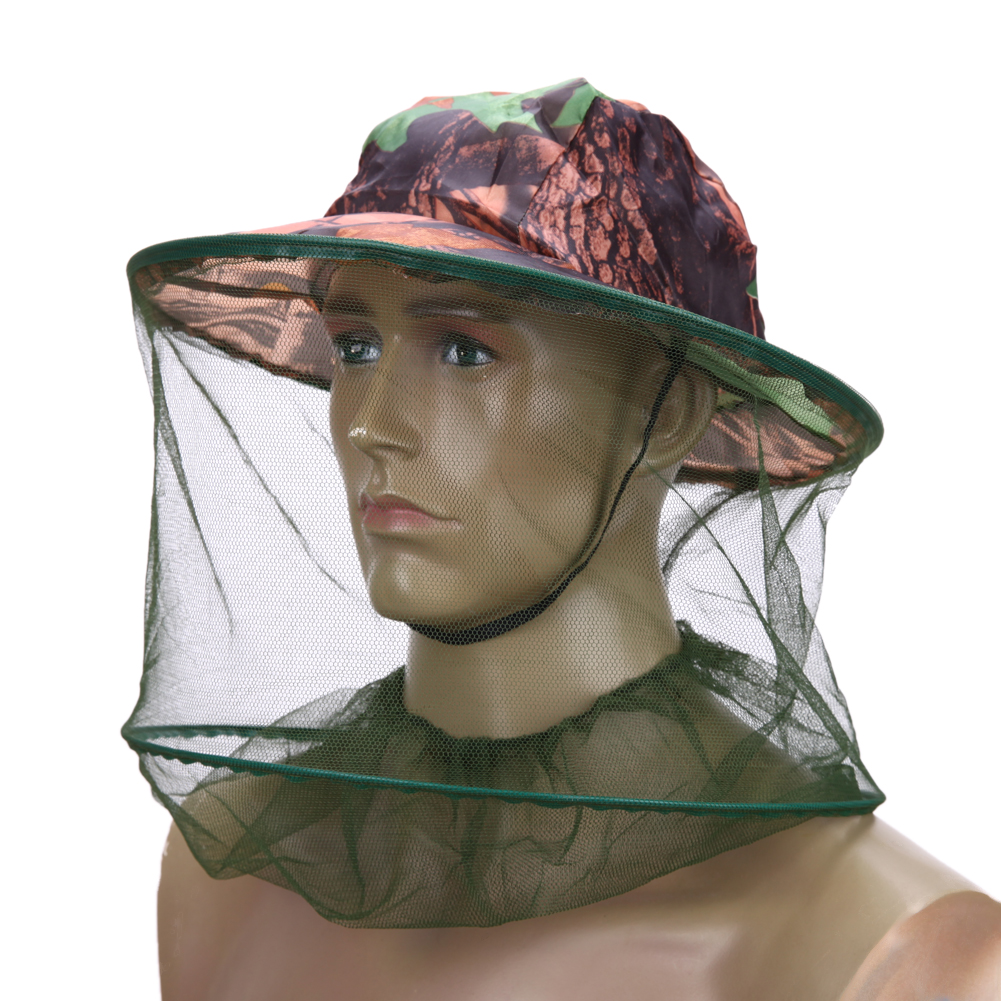 1PCS Camouflage outdoor fishing hat Mosquito net Beekeeping Hat Flying Insects Prevention Cap Bucket Hat Bee bug mesh hat