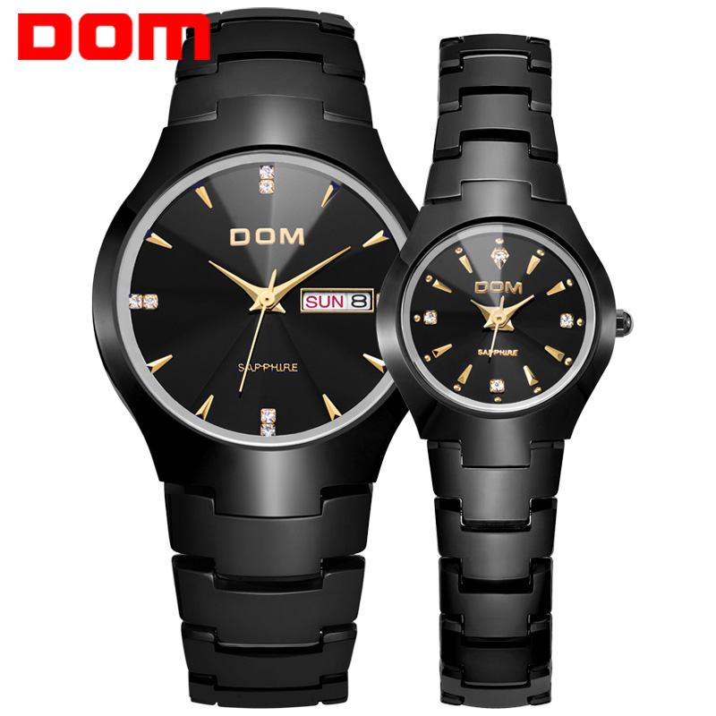 Lovers Tungsten Steel Watches Couple Luxury Fashion Business Men Full Steel Watch Quartz Waterproof Women rhinestone