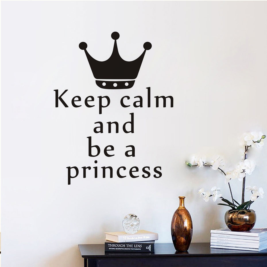 Keep calm and be a princess wall sticker vinyl crown quotes keep calm and be a princess wall sticker vinyl crown quotes adhesive wallpaper for girls room wall decals nursery sticker mura in underwear from mother amipublicfo Image collections