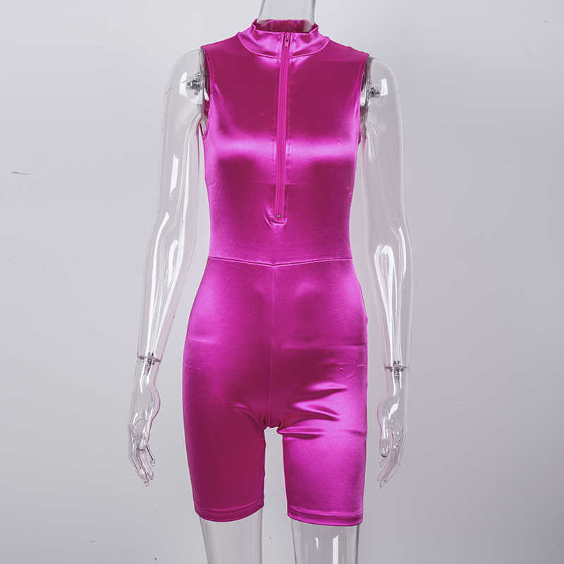 Letni kombinezon NewAsia moda damska elastyczny błyszczący satynowy bez rękawów Sexy body brak różowy Casual Activewear Playsuit 2019