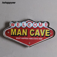 Welcome Man Cave LED Signs Bar Cafe Garage Shopping Club Living Room Wall Decorative Vintage Metal Sign Metal Plate Home Decor